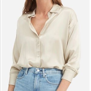 Everlane Silk Charmeuse Blouse NWOT in Stone White
